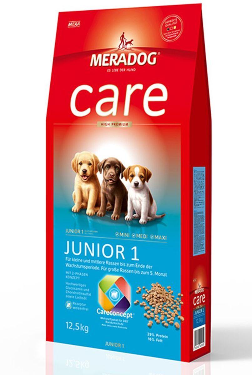 Корм сухой Meradog Junior 1 High Premium, для щенков, 12,5 кг50350Для щенков малых и средних пород до конца периода роста Для щенков крупных пород до 5 месяцев. Для кормящих и беременных собак. Высококачественный порошок из мяса моллюсков для хрящей и суставов. Пребиотический инулин и бета-глюканы. Масло лосося.