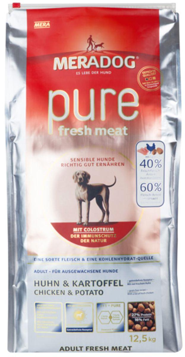 Корм сухой Meradog Pure Fresh Meat Huhn & Kartoffel, для собак, со свежей курицей и картофелем, 300 г53376Полнорационный беззерновой корм для собак и концепция защиты от MERADOG: антиоксиданты (витамин С, Е, бета-каротин и селен) для оптимальной защиты клеток. Натуральные жирные кислоты Омега-3 и Омега-6 (масло лосося, подсолнечное масло, масло льняных семян), а также хелат цинка для кожи и шерсти. Пребиотический инулин для стабильной кишечной флоры и надежного пищеварения. Идеальный корм при многих видах пищевых аллергий: только один источник углеводов и только один вид мяса. Молозиво, маннанолигосахариды и бета-глюканы для оптимальной иммунной защиты.