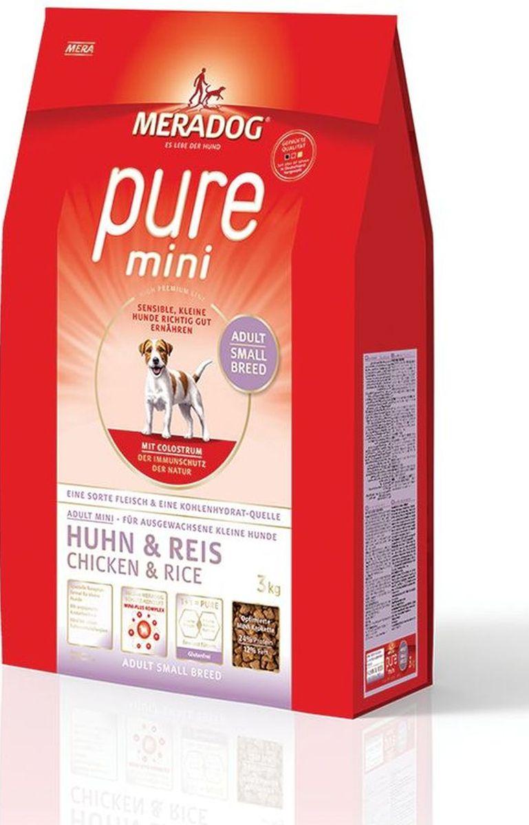 Корм сухой Meradog Pure Mini Chicken and Rice, для собак мелких пород с проблемами в питании/аллергиями, с курицей и рисом, 3 кг53797Полнорационный корм для взрослых собак мелких пород с чувствительным пищеварением и концепция защиты от MERADOG:антиоксиданты (витамин С, Е, бета-каротин и селен) для оптимальной защиты клеток. Натуральные жирные кислоты Омега-3 и Омега-6 (масло лосося, подсолнечное масло, масло льняных семян), а также хелат цинка для кожи и шерсти. Пребиотический инулин для стабильной кишечной флоры и надежного пищеварения. Содержание белка, энергетическая ценность, широкий набор витаминов оптимально сбалансированы для собак мелких пород . Размер и форма гранул является оптимальной для данных пород. Идеальный корм при многих видах пищевых аллергий: только один источник углеводов и только один вид мяса. Молозиво, маннанолигосахариды и бета-глюканы для оптимальной иммунной защиты.