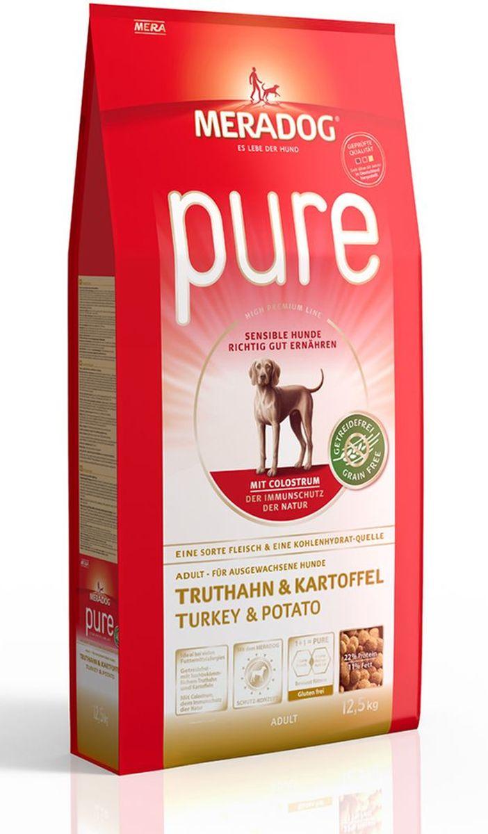 Корм сухой Meradog Pure Turkey & Potato, для взрослых собак с проблемами в питании/аллергиями, без злаков, с индейкой и картофелем, 12 кг54550Полнорационный корм для взрослых собак с проблемами в питании и/или аллергиями. Без злаков – с легкоусвояемой индейкой и картофелем и концепция защиты от MERADOG:антиоксиданты (витамин C, Е, бета-каротин и селен) для оптимальной защиты клеток. Натуральные жирные кислоты Омега-3 и Омега-6 (масло лосося, подсолнечное масло и масло льняных семян), а также хелат цинка для кожи и шерсти. Пребиотический инулин для стабильной кишечной флоры и надежного пищеварения. Высококачественный животный белок (индейка) для поддержания оптимального телосложения и обмена веществ. Идеально при многих пищевых аллергий. Только один источник углеводов и только один вид мяса. Колострум, маннан-олигосахариды и бета-глюканы для оптимальной иммунной защиты.