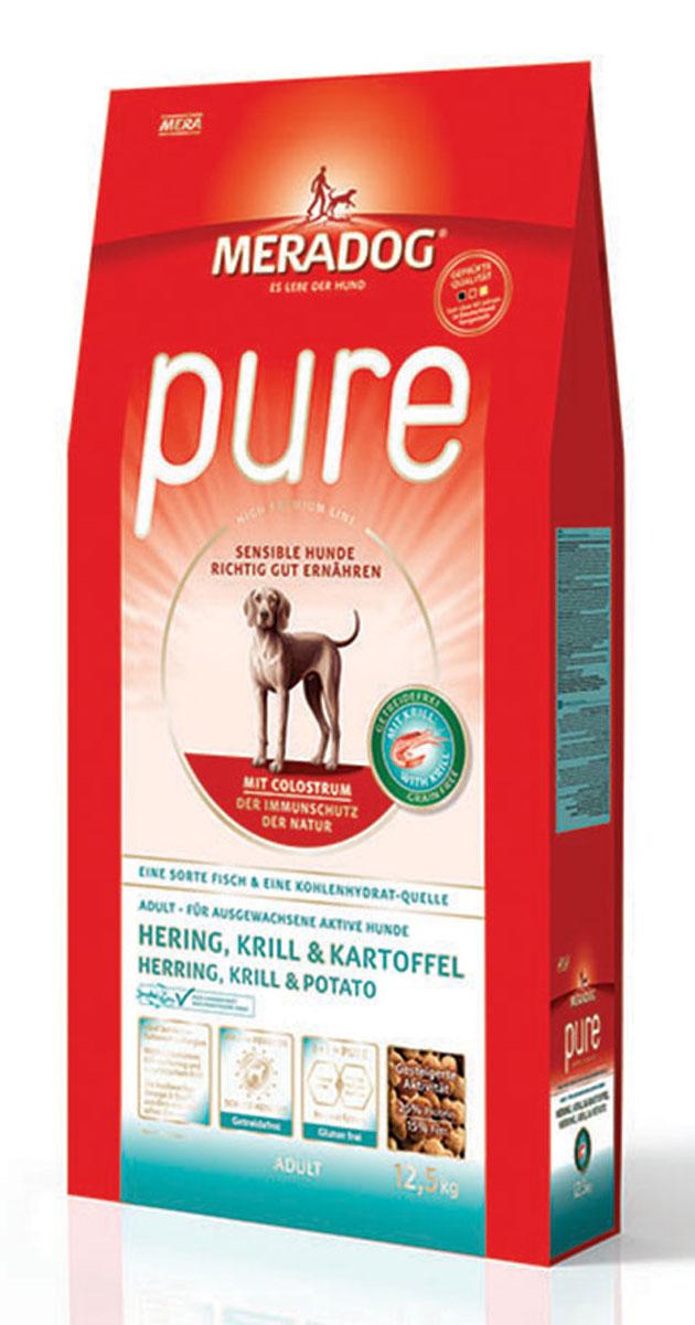 Корм сухой Meradog Pure Hering, Krill & Kartoffel, для взрослых собак с проблемами в питании/аллергиями, без злаков, с сельдью, крилем и картофелем, 12,5 кг54650Полнорационный корм для взрослых собак с проблемами в питании и/или аллергиями. Без злаков – с морской сельдью, антарктическим крилем и картофелем и концепция защиты от MERADOG:антиоксиданты (витамин C, Е, бета-каротин и селен) для оптимальной защиты клеток. Натуральные жирные кислоты Омега-3 и Омега-6 (криль, подсолнечное масло и масло льняных семян), а также хелат цинка для кожи и шерсти. Пребиотический инулин для стабильной кишечной флоры и надежного пищеварения. Необходимая энергетическая ценность, высококачественный животный белок (сельдь, криль) для поддержания оптимального телосложения и жизнеспособности. Идеален при многих видах пищевых аллергий: только один источник углеводов и только один вид рыбы. Криль, маннанолигосахариды и бета-глюканы для оптимальной иммунной защиты.