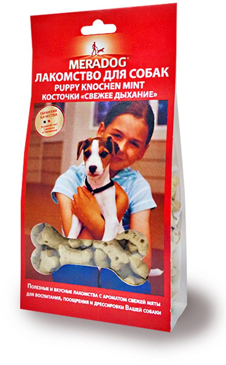 Лакомство для собак Meradog Mint Puppy Knochen, косточки Свежее дыхание, 150 г944210Печенье (лакомства) для собак. Как вознаграждение, а также дополнение к основному рациону собак