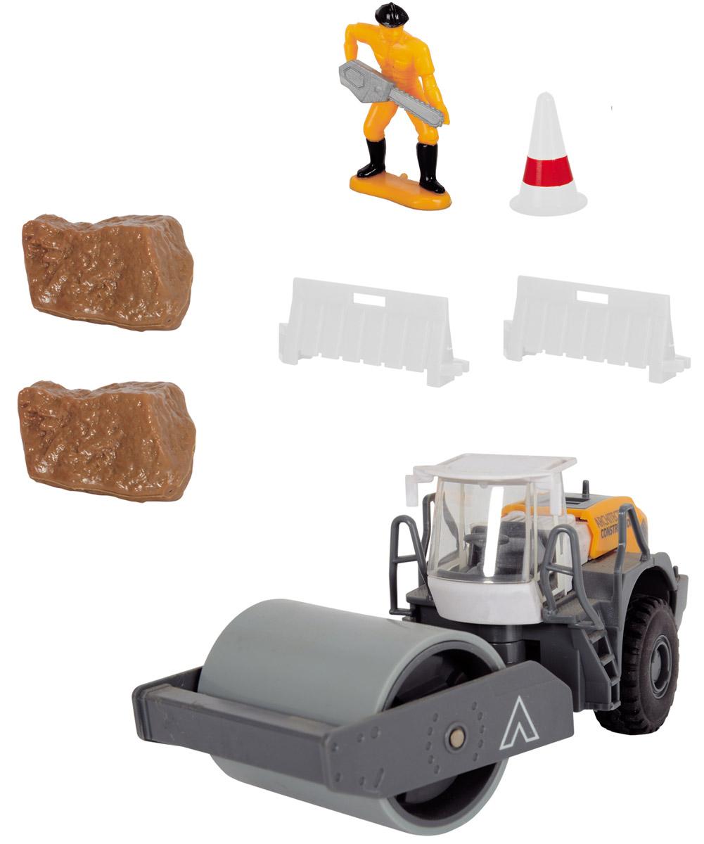 Dickie Toys Каток Дорожные работы3342005Каток Dickie Toys Дорожные работы непременно понравится вашему ребенку. Набор включает в себя трактор с катком, фигурку рабочего, камни и дорожное заграждение. У трактора поворачивается прицеп с катком. Прорезиненные рельефные колеса обеспечивают надежное сцепление с полом. Игрушки из этой серии - уменьшенные копии самой настоящей строительной техники. Малышу обязательно понравятся яркие машинки, а чтобы сделать игру еще интереснее, можно собрать целую коллекцию! С этим набором ваш малыш будет часами занят игрой. Порадуйте его таким замечательным подарком!