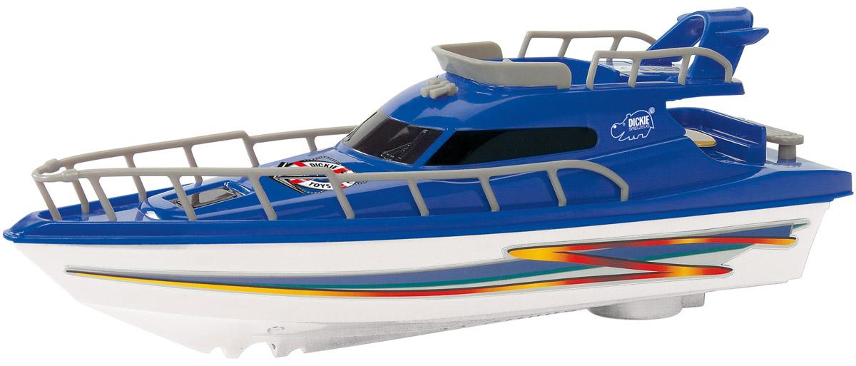 Dickie Toys Яхта цвет белый синий 23 см3774001_белый, синийЯхта Ocean Dream, размер 23 см, питание от батареек, с турбодвигателем. Красивая яхта яркой расцветки развлечет Вашего малыша! Батарейки: 1*АА (не входит в комплект).