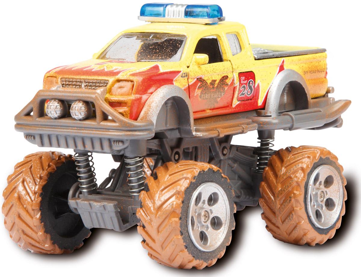 Dickie Toys Внедорожник Rally Monster цвет желтый3742000_желтыйМощный внедорожник Dickie Toys Rally Monster с имитацией грязи и открывающимися дверями непременно понравится вашему ребенку. Это настоящий монстр на дороге: большие колеса, два ряда фар, мощная амортизация. Эта игрушка снабжена всеми элементами реального внедорожника, и даже грязь на колесах и кузове выглядит очень натурально. Можно поверить, что внедорожник проехал не одну сотню километров. Игрушка может похвастать встроенным фрикционным механизмом, благодаря которому ее можно запускать, чтобы она преодолевала небольшие расстояния без помощи игрока. Система амортизации обеспечивает внедорожному авто максимальную проходимость даже в самых трудных условиях. С этой игрушкой ваш малыш будет часами занят игрой. Порадуйте его таким замечательным подарком!