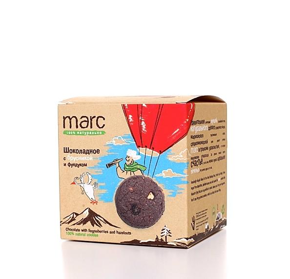 Marc шоколадное печенье с брусникой и фундуком, 50 г2828Печенье с лесными ягодами и орехами несет в себе сразу и витаминную пользу, и прекрасное настроение. Вкусное, шоколадное - из гречневой муки с натуральным бельгийским какао.