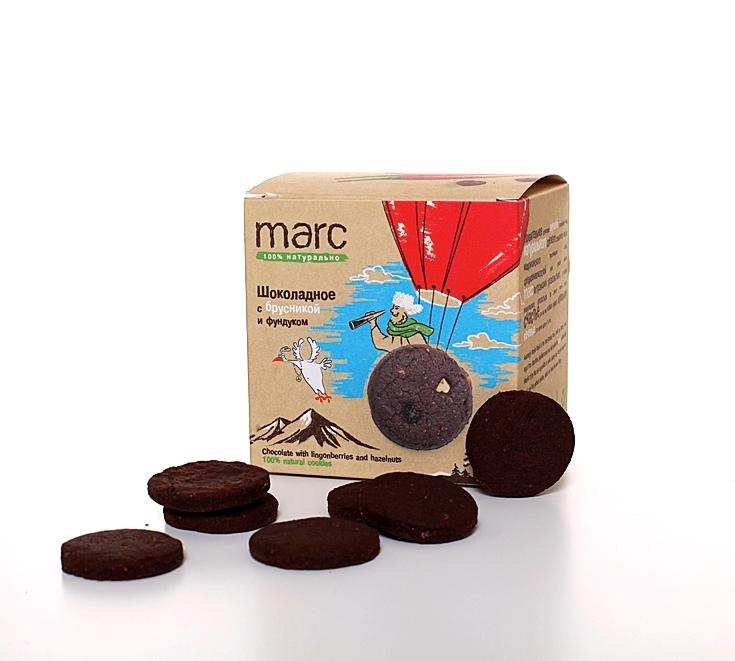 Marc шоколадное печенье с брусникой и фундуком, 150 г2829Шоколада, фундука и брусники не бывает много. Вкусное и натуральное шоколадное печенье Marc&Фиса с брусникой и фундуком - это польза, приносящая улыбку :)