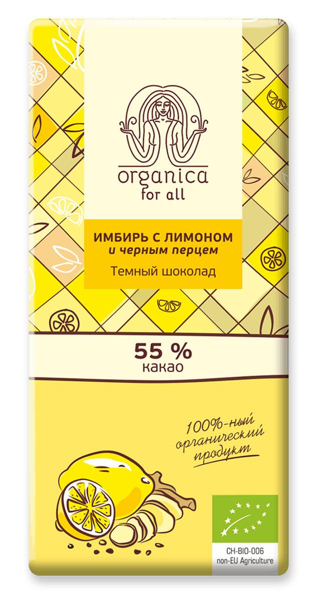 """Organica for all """"Имбирь с лимоном и черным перцем"""" швейцарский органический темный шоколад , 55% какао, 100 г 2976"""