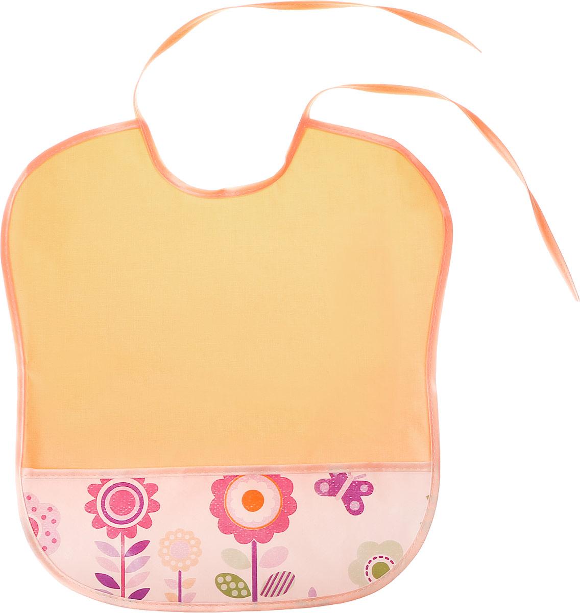 Колорит Нагрудник с карманом Цветы цвет оранжевый 33 см х 33 см0083_оранжевый, цветыНагрудник Колорит Цветы с непромокаемым слоем защитит одежду малыша во время кормления и освободит родителей от дополнительных хлопот. Нагрудник изготовлен из клеенки подкладной с ПВХ покрытием и дополнен широким карманом. Яркая расцветка и оригинальный рисунок непременно понравятся вашему малышу. Нагрудник предназначен для многоразового использования, не промокает, предохраняет от загрязнений во время кормления. Нагрудник на завязках - выбор практичных мамочек, пользоваться таким слюнявчиком можно более длительное время. Пока ваш малыш растет, благодаря завязкам вы сможете легко контролировать длину изделия и регулировать размер горловины.