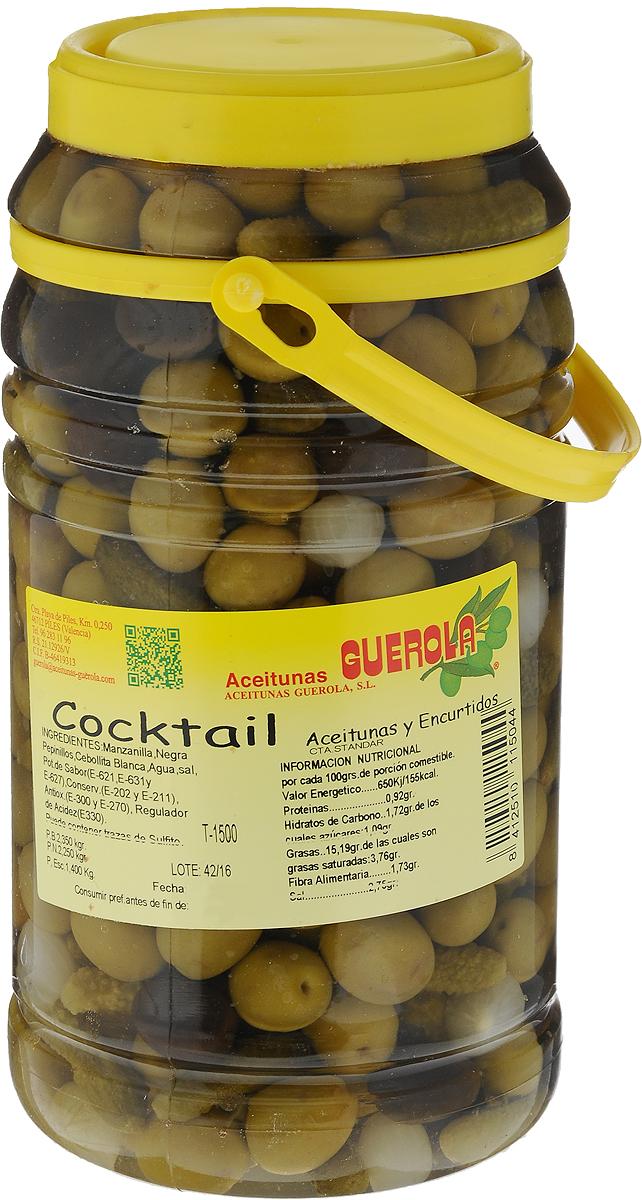 Guerola Коктейль из оливок, 2,25 кг8412510111763Коктейль Guerola содержит оливки сортов Мансанилья и Негра, а также корнишоны и чеснок. Это прекрасная закуска на праздничный стол. Продукт производится семейной компанией, которая была основана еще в конце 19 века в Валенсии и до сих пор ее возглавляют члены семьи. Уважаемые клиенты! Обращаем ваше внимание, что полный перечень состава продукта представлен на дополнительном изображении.