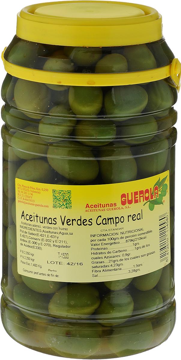 Guerola Оливки зеленые сорта Кампо Реал с косточкой, 2,25 кг8412510114580Оливки Guerola Кампо Реал темно-зеленого цвета традиционно выращиваются в испанском одноименном регионе недалеко от Мадрида, поэтому их также называют мадридские оливки. Производятся семейной компанией Guerola, которая была основана еще в конце 19 века в Валенсии и до сих пор ее возглавляют члены семьи. Уважаемые клиенты! Обращаем ваше внимание, что полный перечень состава продукта представлен на дополнительном изображении.