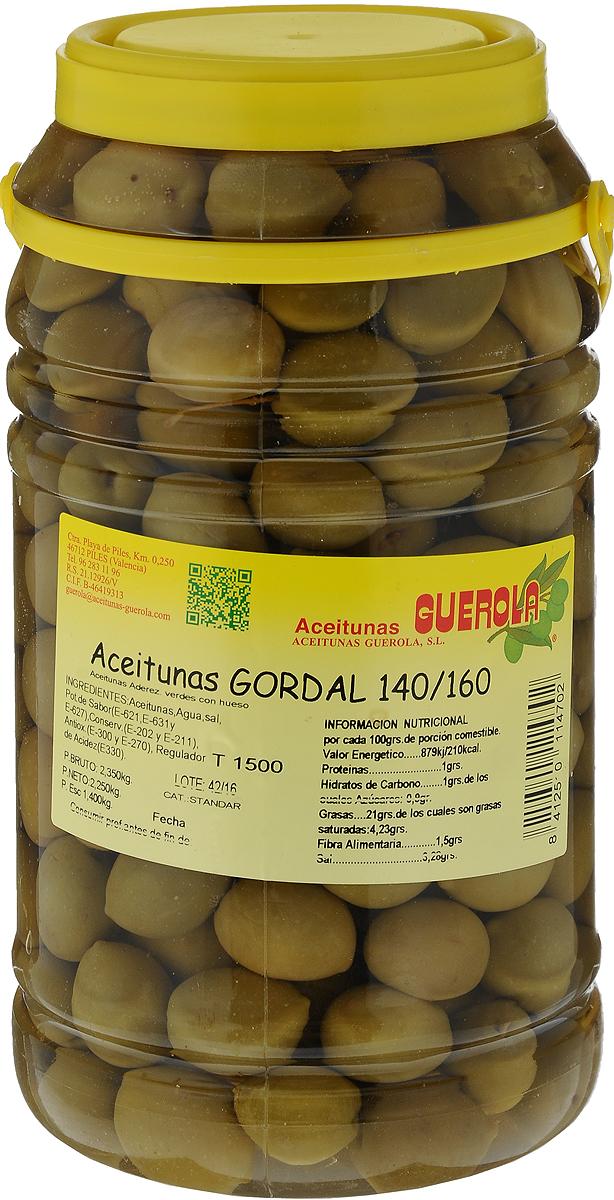Guerola Оливки зеленые сорта Гордаль с косточкой, 2,25 кг8412510114702Оливки зеленые Гордаль с косточкой Guerola калибр 140/160. Гордаль - это самые крупные оливки, иногда размером со среднюю сливу. Его еще называют королевской оливкой. Произрастает только в Испании и Греции, но испанские ценятся значительно выше. Это лучший столовый сорт, отличающийся сочной мякотью, выразительным вкусом и аппетитным внешним видом! Благодаря своему размеру оливки Гордаль часто подаются к столу в качестве самостоятельного блюда. Уважаемые клиенты! Обращаем ваше внимание, что полный перечень состава продукта представлен на дополнительном изображении.