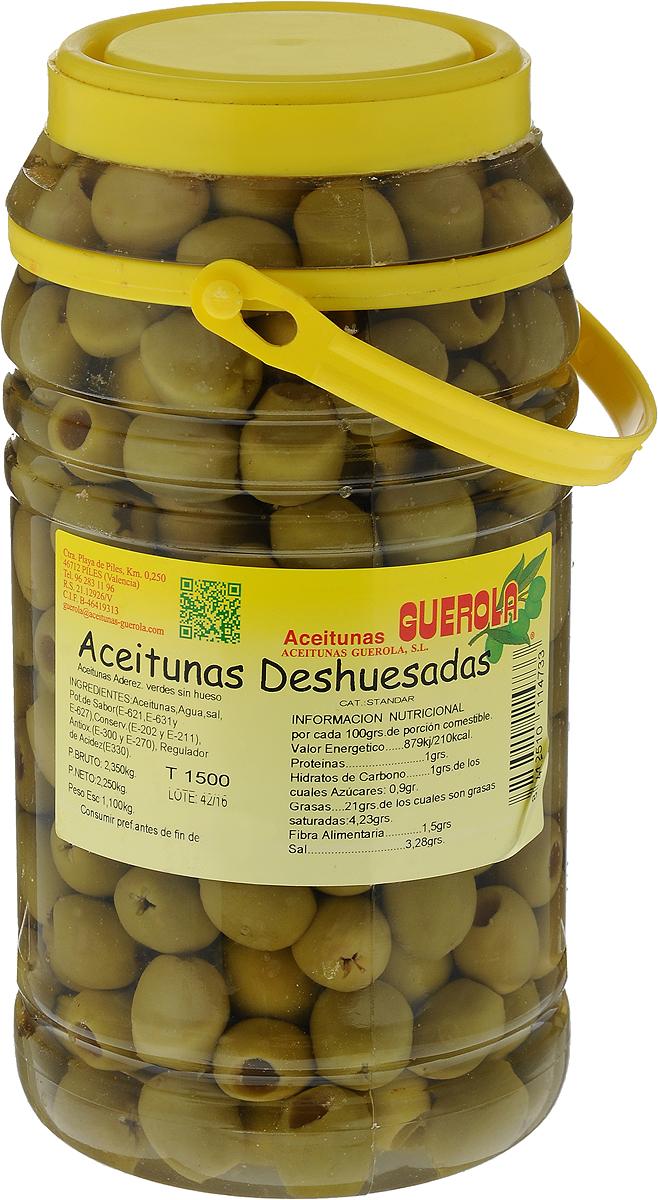 Guerola Оливки зеленые без косточки, 2,25 кг8412510114733Оливки Guerola без косточки. Оливки обладают сочной мякотью и особым изысканным вкусом. В этих оливках высокая концентрация олеиновой кислоты (Omega-9). Производится семейной компанией Guerola, которая была основана еще в конце 19 века в Валенсии и до сих пор ее возглавляют члены семьи.