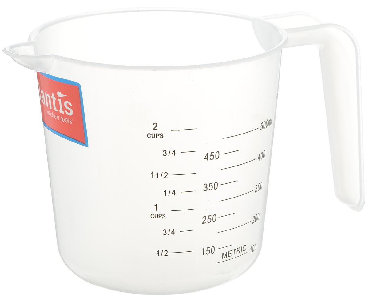 Стакан мерный Atlantis, 500 млC832Мерный прозрачный стакан Atlantis выполнен из высококачественного пластика. Стакан оснащен удобной ручкой и носиком, которые делают изделие еще более простым в использовании. Он позволяет мерить жидкости до 500 мл. Также есть шкалы в пинтах и в чашках (Cup-шкала). Такой стаканчик пригодится на каждой кухне, ведь зачастую приготовление некоторых блюд требует известной точности. Объем: 500 мл. Диаметр (по верхнему краю): 11 см. Высота: 11 см.