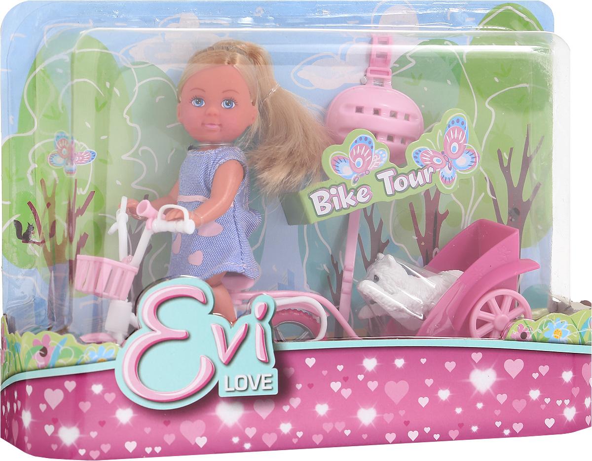 Simba Игровой набор с мини-куклой Bike Tour цвет платья фиолетовый5730783_джинсовое платьеУ чудесной куколки Еви есть велосипед, собачка и даже специальная тележечка для перевозки питомца. Еви очень любит велосипедные прогулки и всегда заботится о безопасности: надевает модный розовый шлем. Вашей крошке обязательно понравится играть с куколкой Еви. Набор выполнен из высококачественного материала, абсолютно безопасного для здоровья вашей малышки.