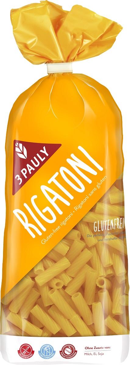 3 Pauly макаронные изделия Ригатони без глютена, 500 г3095Итальянцы могут есть макароны каждый день, а некоторые - и на обед, и на ужин :) Высококачественные Ригатони от 3 PAULY действительно можно есть каждый день! Причем и здоровье сберечь, и фигуру сохранить, ведь они без глютена, молока и яиц. За счет рифленой формы принимают много соуса.