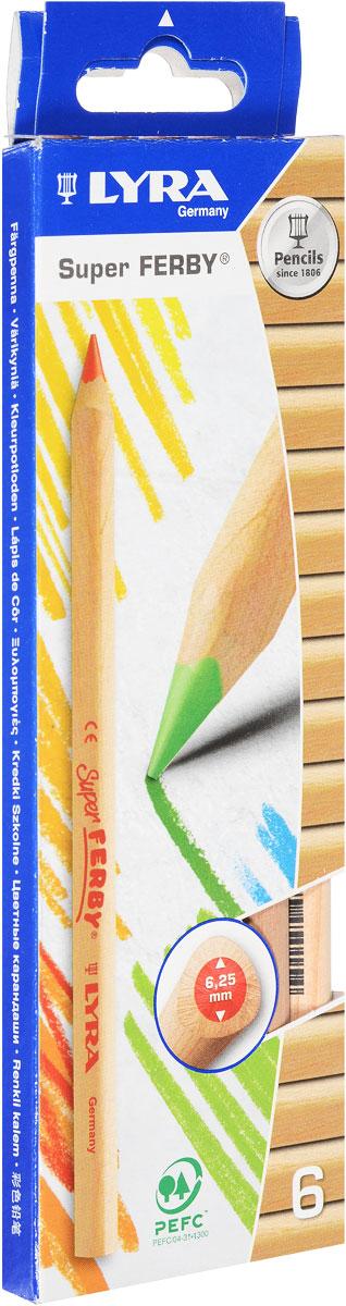 Lyra Набор цветных карандашей Ferby Nature 6 штL3711060Набор цветных карандашей Lyra Ferby Nature откроют юным художникам новые горизонты для творчества, а также помогут отлично развить мелкую моторику рук, цветовое восприятие, фантазию и воображение. В комплекте: 6 заточенных цветных карандашей. Они имеют треугольную форму для удобного захвата. Идеально подходят для школы. Карандаши изготовлены из дерева, экологически чистые, с нелакированным покрытием. Имеют прочный неломающийся грифель с диаметром 6,25 мм, не требующий сильного нажатия и легко затачиваются.
