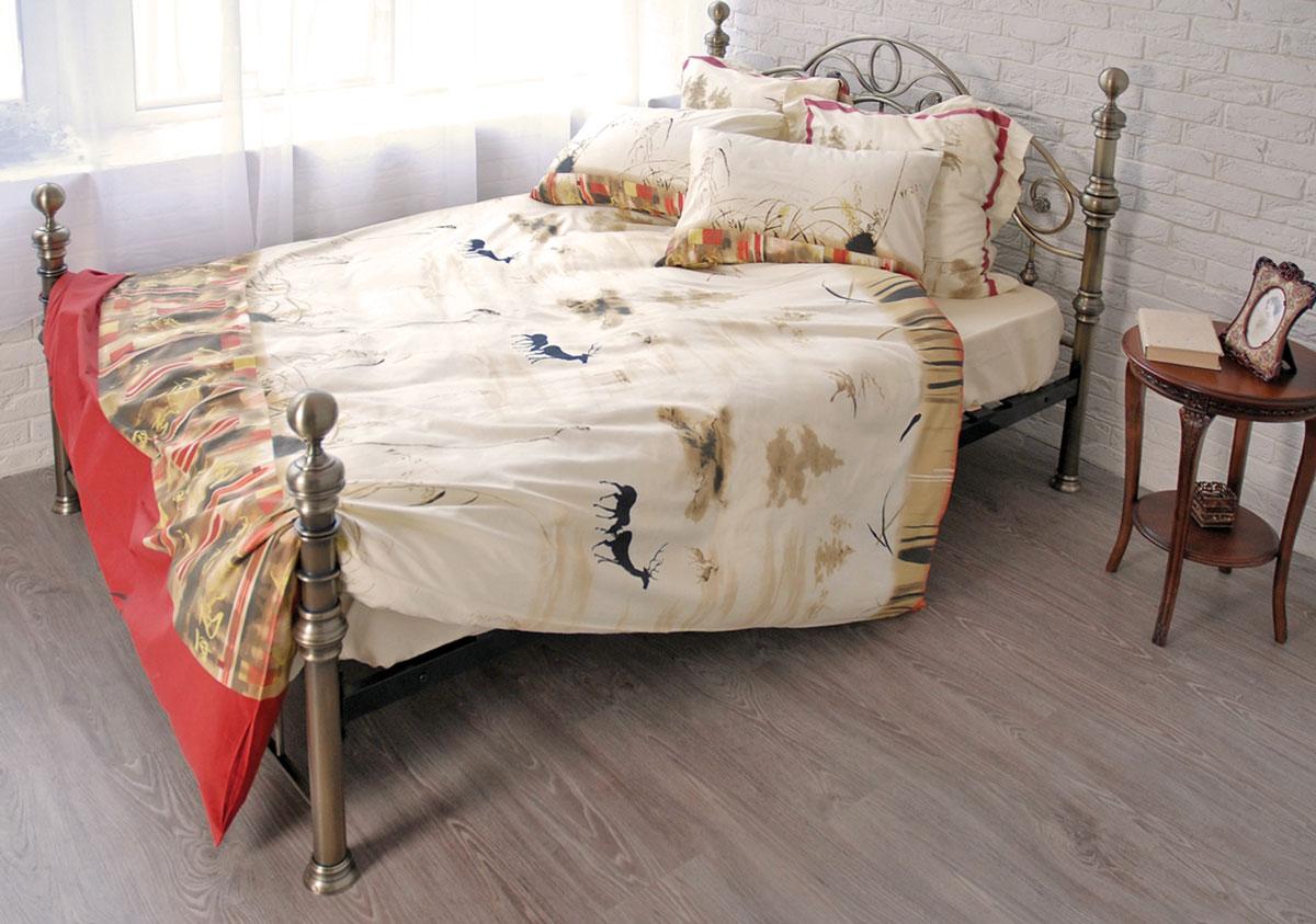 Комплект белья Сказка (2-х спальный КПБ, сатин, 4 наволочки 50х70, 70х70)Т-1695-01-1763-01_2-спальныйКомплект постельного белья Сказка, изготовленный из сатина, поможет вам расслабиться и подарит спокойный сон. Постельное белье имеет изысканный внешний вид и обладает яркостью и сочностью цвета. Комплект состоит из пододеяльника, простыни и четырех наволочек. Все предметы комплекта цельнокроеные. Благодаря такому комплекту постельного белья вы сможете создать атмосферу уюта и комфорта в вашей спальне. Сатин производится из высших сортов хлопка, а своим блеском, легкостью и на ощупь напоминает шелк. Такая ткань рассчитана на 200 стирок и более. Постельное белье из сатина превращает жаркие летние ночи в прохладные и освежающие, а холодные зимние - в теплые и согревающие. Благодаря натуральному хлопку, комплект постельного белья из сатина приобретает способность пропускать воздух, давая возможность телу дышать. Одно из преимуществ материала в том, что он практически не мнется и ваша спальня всегда будет аккуратной и нарядной. Страна: Россия. Материал: сатин...