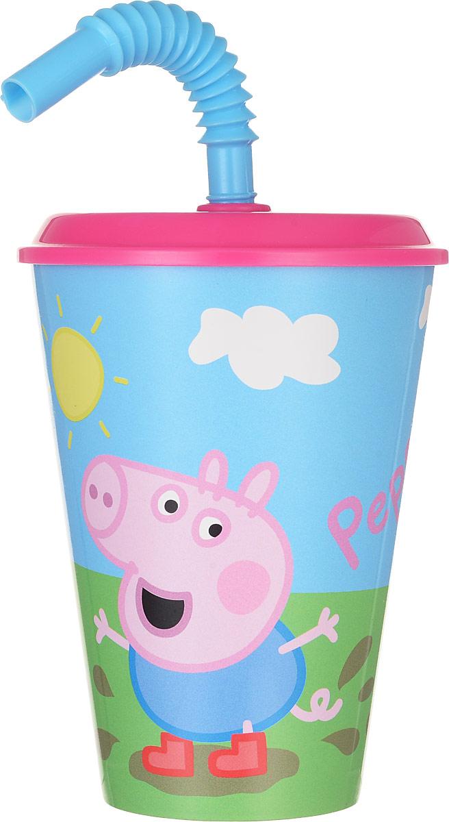 Peppa Pig Стакан детский с крышкой и трубочкой Пеппа на полянке 450 мл