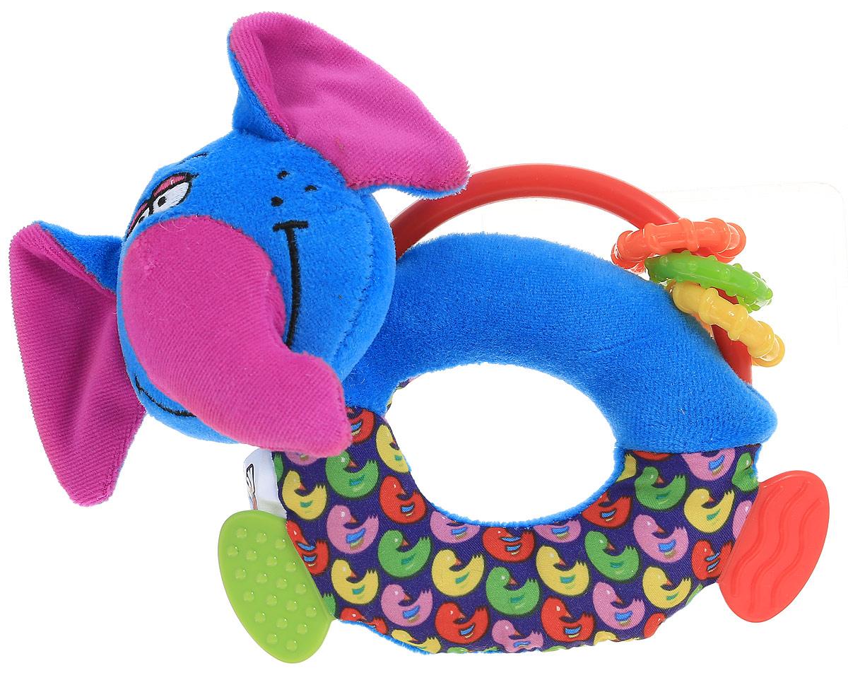 Bondibon Мягкая игрушка-погремушка Слон-пищалка с прорезывателямиВВ1281_синий, розовыйМягкая игрушка-погремушка Слон-пищалка не оставит вашего малыша равнодушным и не позволит ему скучать. Игрушка выполнена из высококачественных текстильных материалов и мягкого наполнителя. Внутри ушек спрятаны шуршащие элементы. Фигурка слоника дополнена пластиковой дугой с яркими колечками. Перекатываясь по дуге, колечки издают негромкий звук. В голове фигурки спрятана пищалка. Вместо ножек у игрушки прорезыватели для зубов, выполненные из качественного и безопасного материала. Именно погремушки передают крохам первый визуальный и тактильный опыт, учат находить взаимосвязь - если потрясти погремушку, то возникнет звук! Яркая игрушка формирует тактильные ощущения, восприятие звуков, цветов и форм. В процессе игры развивается мелкая моторика и воображение вашего ребенка.