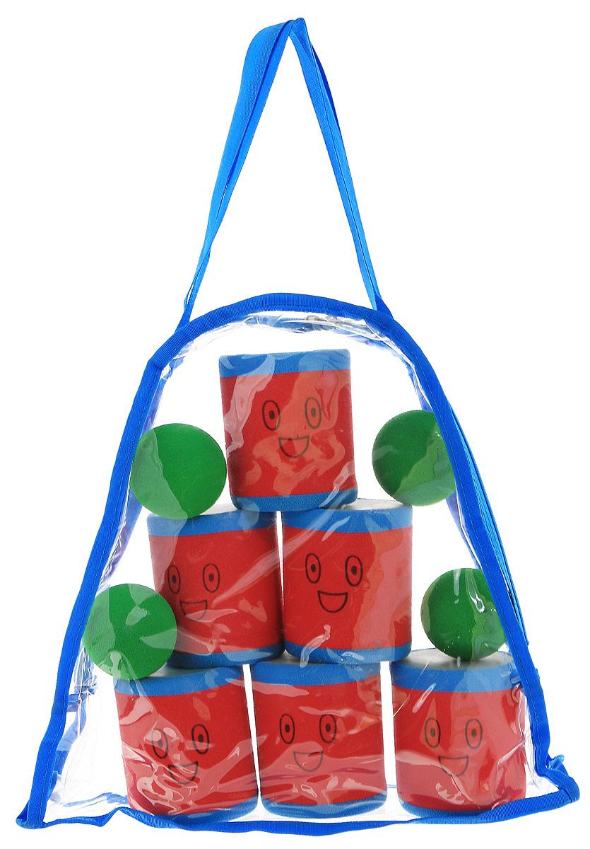 Safsof Игровой набор Городки цвет красный голубой зеленыйAT-02N(B)_зеленые мячикиИгровой набор Городки, изготовленный из вспененного материала, состоит из 6 ярких банок и 4 мячиков. Цель игры: выбить как можно больше фигур, построенных из трех и более городков (банок), мячами с определенного расстояния. Каждый участник сбивает фигуру с одного и того же расстояния, на каждую фигуру дается три броска. Если игроку удается сбить фигуру с первого броска, он получает 3 балла, со второго - 2 и с третьего - 1. Выигрывает тот участник, который набирает большее количество баллов. Благодаря яркой расцветке и легкому и безопасному материалу, с этим набором можно играть не только на улице, но и дома. Набор упакован в практичную пластиковую сумку с ручками.