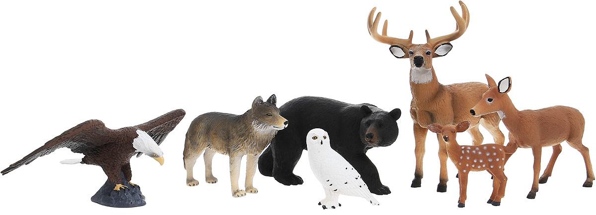 Mojo Набор фигурок Лесные животные 7 шт 387336387336Набор фигурок Mojo Лес познакомят вашего ребенка с окружающим миром. В набор входят семь фигурок: сова, волк, орел, медведь, оленье семейство, состоящее из двух взрослых особей и одного олененка. Они имеют высокую степень сходства с настоящими лесными животными и очень высокую детализацию, что позволяет использовать фигурки не только как игровые, но и как коллекционные. Кроме того, фигурки можно использовать в качестве наглядного пособия при изучении животного мира. Фигурки изготовлены из качественного материала, не токсичны и не вызывают аллергию.