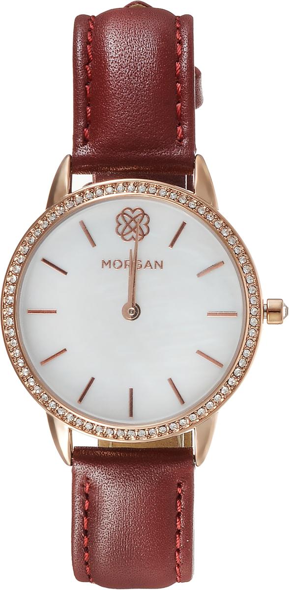 Наручные часы женские Morgan, цвет: красный. M1260RM1260RДвухстрелочный механизм VJ20; IP Rose Gold- покрытие; Размер корпуса 34 мм; Минеральное стекло; Белый перламутровый циферблат; Чешские кристаллы; Красный кожаный ремешок; Водозащита 3 АТМ