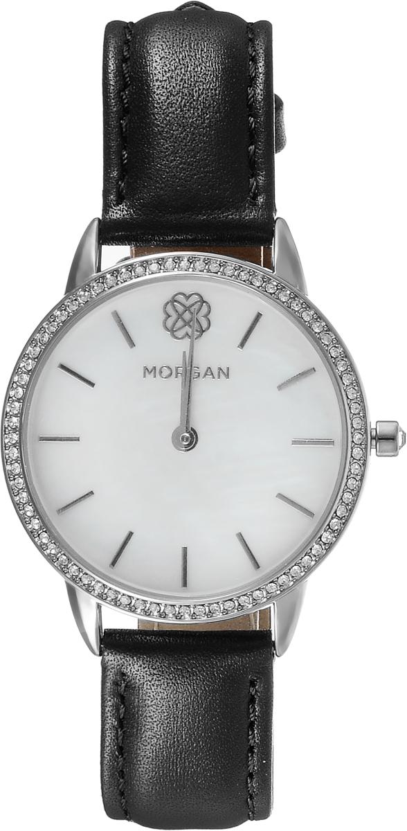 Наручные часы женские Morgan, цвет: черный. M1260BM1260BДвухстрелочный механизм VJ20; IP Silver-покрытие; Размер корпуса 34 мм; Минеральное стекло; Белый перламутровый циферблат; Чешские кристаллы; Черный кожаный ремешок; Водозащита 3 АТМ