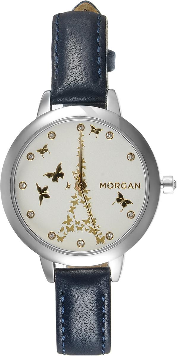 Наручные часы женские Morgan, цвет: синий. M1266UM1266UТрехстрелочный механизм PC21J; IP Silver-покрытие; Размер корпуса 35 мм; Минеральное стекло; Белый циферблат с золотым принтом; Чешские кристаллы; Темно-синий ремешок; Водозащита 3 АТМ