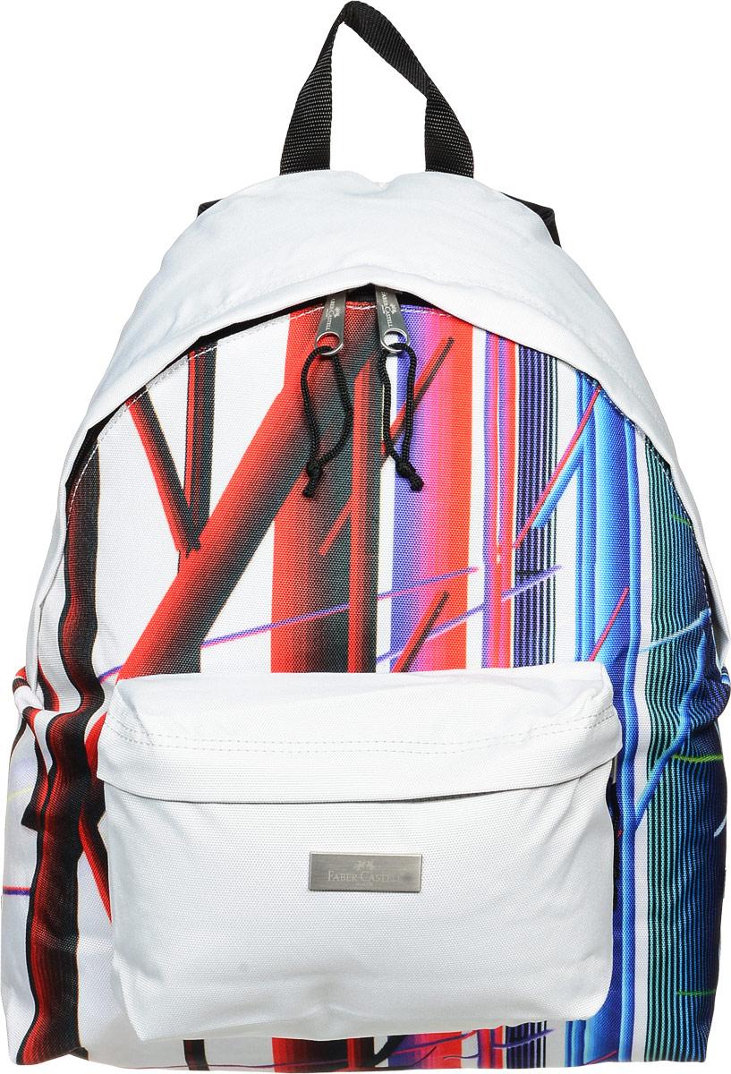 Faber-Castell Рюкзак Фестиваль190135Стильный и качественный рюкзак Faber-Castell Фестиваль выполнен из прочного водоотталкивающего полиэстера и прекрасно подойдет для использования подростками. Это легкий и компактный городской рюкзак, который обязательно подчеркнет вашу индивидуальность. Рюкзак содержит одно большое вместительное отделение, закрывающееся на застежку-молнию с двумя бегунками. На лицевой стороне рюкзака расположен накладной карман на молнии. Рюкзак оснащен широкими лямками и текстильной ручкой для переноски в руке. Такую модель рюкзака можно использовать для повседневных прогулок, отдыха и спорта.
