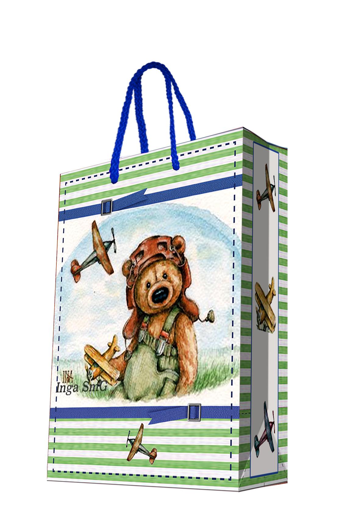 Пакет подарочный Magic Home Мишка-летчик, 17,8 х 22,9 х 9,8 см44176Подарочный пакет Magic Home, изготовленный из плотной бумаги, станет незаменимым дополнением к выбранному подарку. Дно изделия укреплено картоном, который позволяет сохранить форму пакета и исключает возможность деформации дна под тяжестью подарка. Пакет выполнен с глянцевой ламинацией, что придает ему прочность, а изображению - яркость и насыщенность цветов. Для удобной переноски имеются две ручки в виде шнурков. Подарок, преподнесенный в оригинальной упаковке, всегда будет самым эффектным и запоминающимся. Окружите близких людей вниманием и заботой, вручив презент в нарядном, праздничном оформлении. Плотность бумаги: 140 г/м2.
