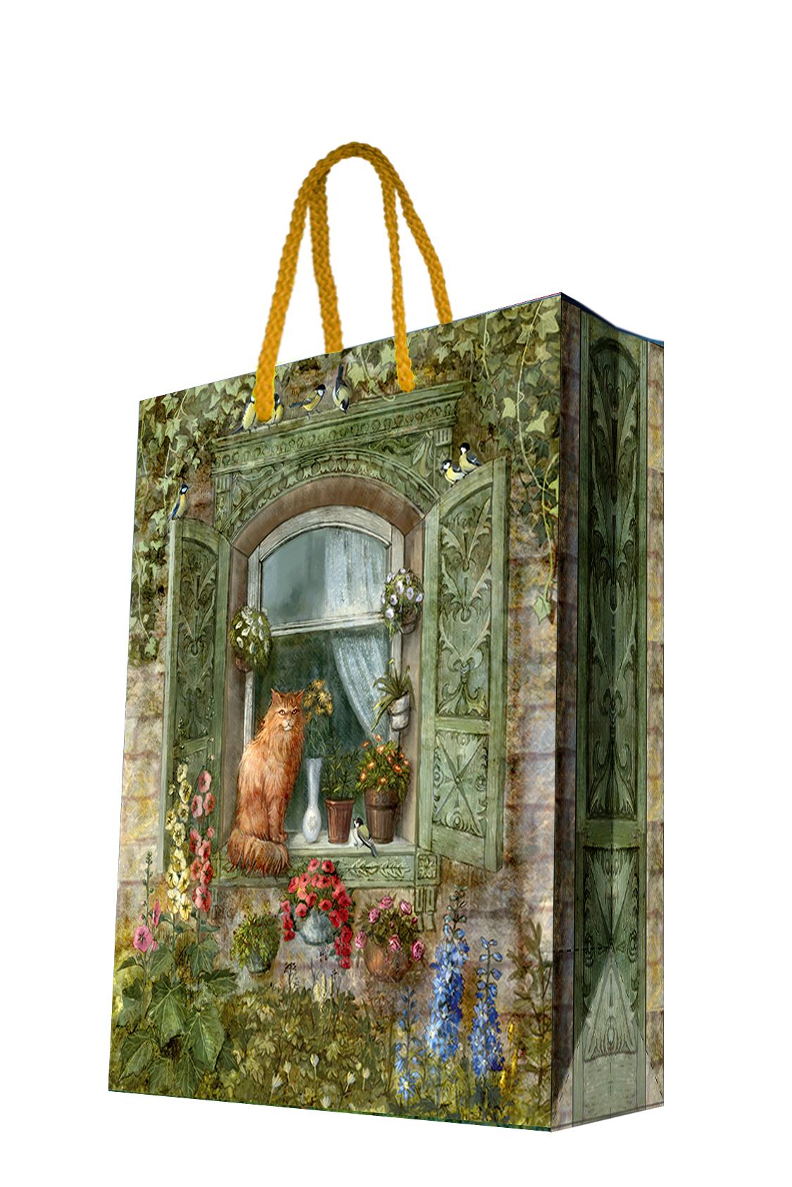 Пакет подарочный Magic Home Котик на окне, 17,8 х 22,9 х 9,8 см44177Подарочный пакет Magic Home, изготовленный из плотной бумаги, станет незаменимым дополнением к выбранному подарку. Дно изделия укреплено картоном, который позволяет сохранить форму пакета и исключает возможность деформации дна под тяжестью подарка. Пакет выполнен с глянцевой ламинацией, что придает ему прочность, а изображению - яркость и насыщенность цветов. Для удобной переноски имеются две ручки в виде шнурков. Подарок, преподнесенный в оригинальной упаковке, всегда будет самым эффектным и запоминающимся. Окружите близких людей вниманием и заботой, вручив презент в нарядном, праздничном оформлении. Плотность бумаги: 140 г/м2.