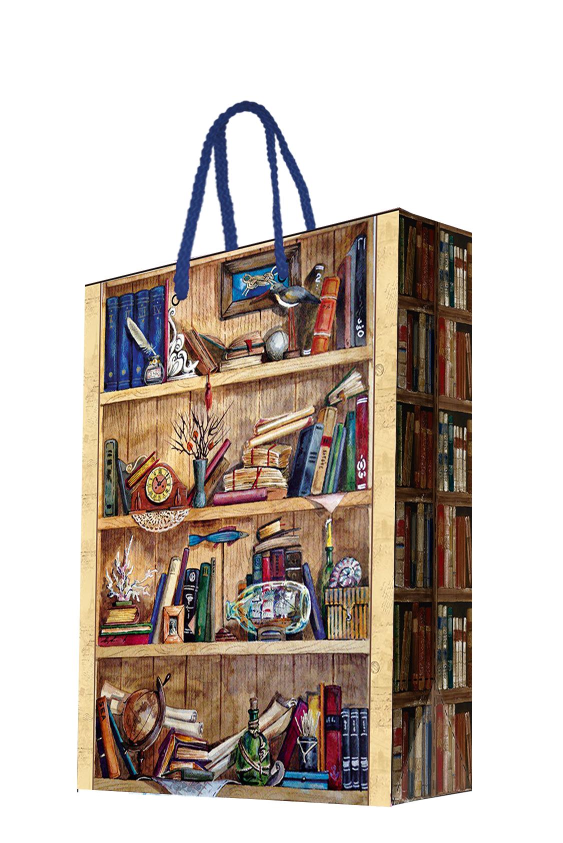 Пакет подарочный Magic Home Книжные полки, 17,8 х 22,9 х 9,8 см44178Бумажный подарочный пакет для сувенирной продукции размером 17,8*22,9*9,8 см изготовлен из плотной бумаги. Плотность бумаги 140г/м2. Дно укреплено картоном, который позволяет сохранить форму пакета и исключает возможность деформации дна под тяжестью подарка. Пакет выполнен с глянцевой ламинацией, что придает ему прочность, а изображению - фактуру, яркость и насыщенность цветов. Для удобной переноски имеются две ручки из шнурков.