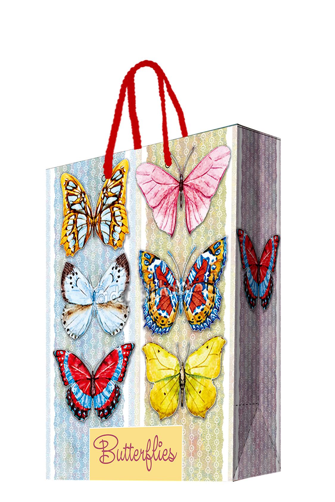 Пакет подарочный Magic Home Тропические бабочки, 17,8 х 22,9 х 9,8 см44183Бумажный подарочный пакет для сувенирной продукции размером 17,8*22,9*9,8 см изготовлен из плотной бумаги. Плотность бумаги 140г/м2. Дно укреплено картоном, который позволяет сохранить форму пакета и исключает возможность деформации дна под тяжестью подарка. Пакет выполнен с глянцевой ламинацией, что придает ему прочность, а изображению - фактуру, яркость и насыщенность цветов. Для удобной переноски имеются две ручки из шнурков.