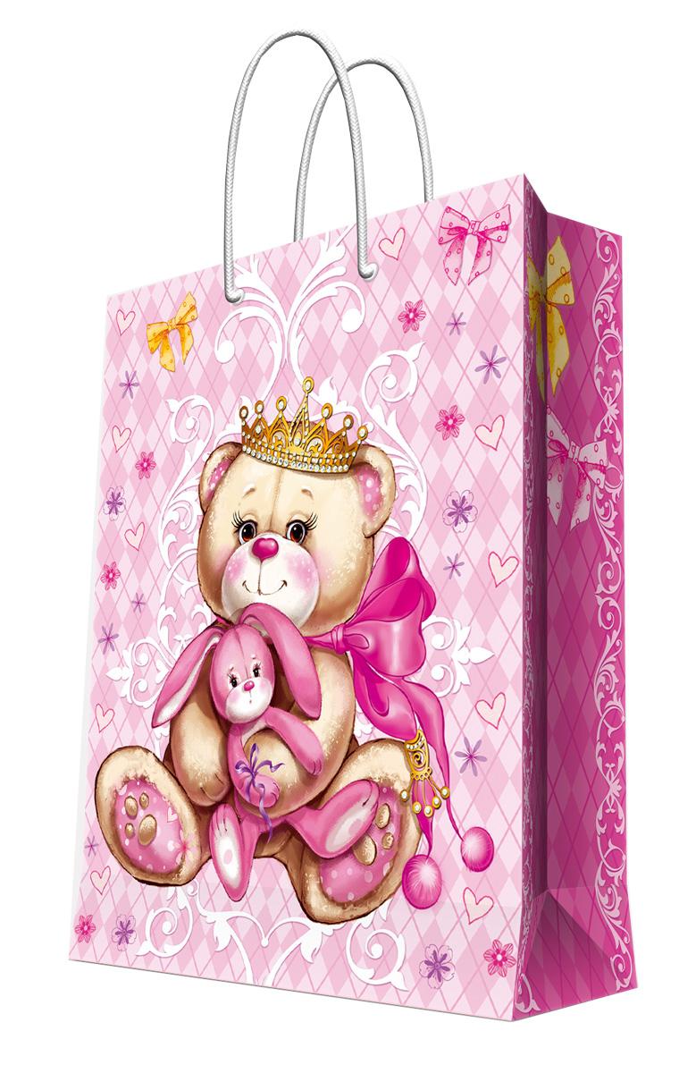 Пакет подарочный Magic Home Принцесса-медведица, 17,8 х 22,9 х 9,8 см44188Подарочный пакет Magic Home, изготовленный из плотной бумаги, станет незаменимым дополнением к выбранному подарку. Дно изделия укреплено картоном, который позволяет сохранить форму пакета и исключает возможность деформации дна под тяжестью подарка. Пакет выполнен с глянцевой ламинацией, что придает ему прочность, а изображению - яркость и насыщенность цветов. Для удобной переноски имеются две ручки в виде шнурков. Подарок, преподнесенный в оригинальной упаковке, всегда будет самым эффектным и запоминающимся. Окружите близких людей вниманием и заботой, вручив презент в нарядном, праздничном оформлении. Плотность бумаги: 140 г/м2.