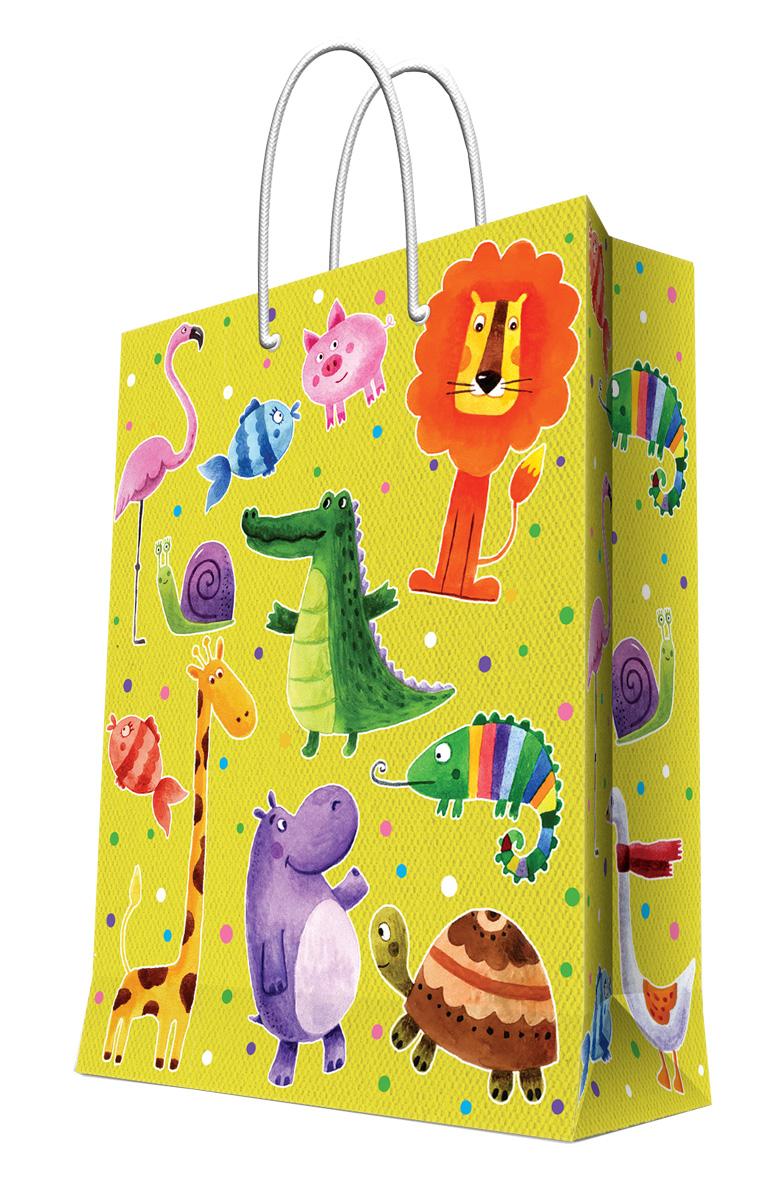 Пакет подарочный Magic Home Веселые зверята, 26 х 32,4 х 12,7 см44205Подарочный пакет Magic Home, изготовленный из плотной бумаги, станет незаменимым дополнением к выбранному подарку. Дно изделия укреплено картоном, который позволяет сохранить форму пакета и исключает возможность деформации дна под тяжестью подарка. Пакет выполнен с глянцевой ламинацией, что придает ему прочность, а изображению - яркость и насыщенность цветов. Для удобной переноски имеются две ручки в виде шнурков. Подарок, преподнесенный в оригинальной упаковке, всегда будет самым эффектным и запоминающимся. Окружите близких людей вниманием и заботой, вручив презент в нарядном, праздничном оформлении. Плотность бумаги: 140 г/м2.