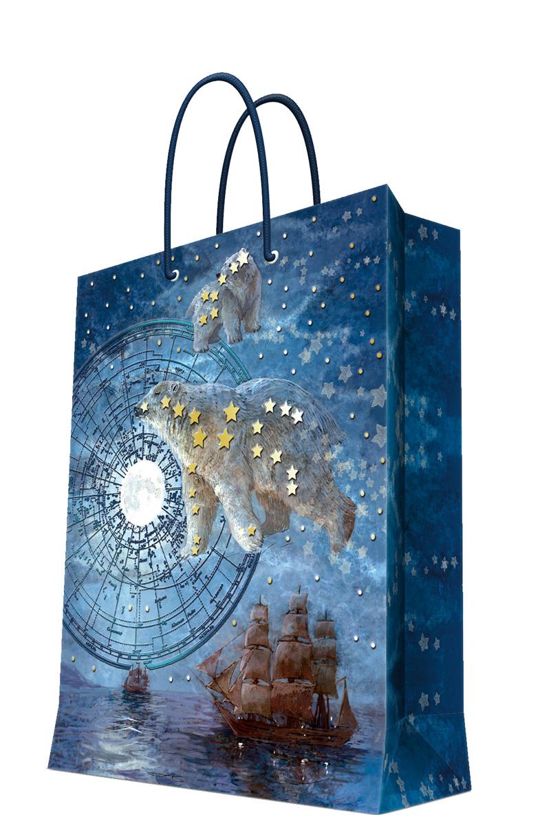 Пакет подарочный Magic Home Большая медведица, 26 х 32,4 х 12,7 см44228Бумажный пакет для сувенирной продукции , с ламинацией, с шириной основания 26 см, плотность бумаги 140 г/м2
