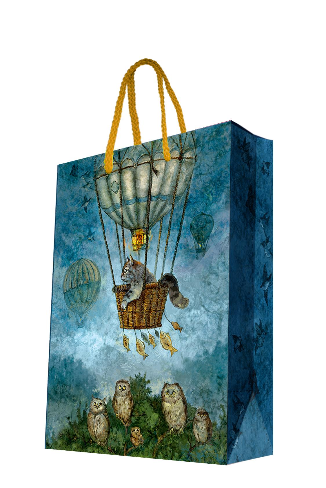 Пакет подарочный Magic Home Кот на воздушном шаре, 17,8 х 22,9 х 9,8 см44239Бумажный подарочный пакет для сувенирной продукции размером 17,8*22,9*9,8 см изготовлен из плотной бумаги. Плотность бумаги 140г/м2. Дно укреплено картоном, который позволяет сохранить форму пакета и исключает возможность деформации дна под тяжестью подарка. Пакет выполнен с глянцевой ламинацией, что придает ему прочность, а изображению - фактуру, яркость и насыщенность цветов. Для удобной переноски имеются две ручки из шнурков.