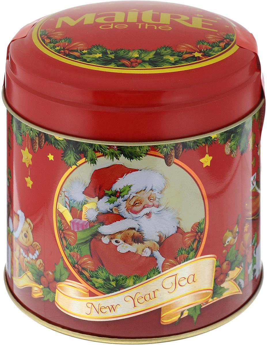 Maitre Новогодний черный листовой чай, 100 гбаж018Превосходный черный ароматизированный листовой чай Maitre Новогодний в подарочной упаковке. Отлично подойдет в качестве подарка на новогодние праздники. Уважаемые клиенты! Обращаем ваше внимание, что полный перечень состава продукта представлен на дополнительном изображении.