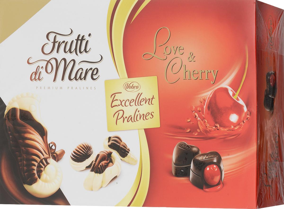 Vobro Exellent Pralines набор шоколадных конфет, 330 г10058_вид 3Двойная радость от чувственных шоколадных конфет в элегантной упаковке. Набор конфеты Excellent Pralines оправдает ожидания всех гурманов шоколадных конфет, которые не любят себе отказывать в любимых вкусах. Excellent Pralines - это сочетание двух вкусов: конфет с вишней в алкоголе Love & Cherry и тонких пралине Frutti di Mare, созданных в композиции белого и темного шоколада с деликатным кремовым наполнением. Содержимое коробки - это незабываемые вкусовые ощущения. Уважаемые клиенты! Обращаем ваше внимание, что полный перечень состава продукта представлен на дополнительном изображении.