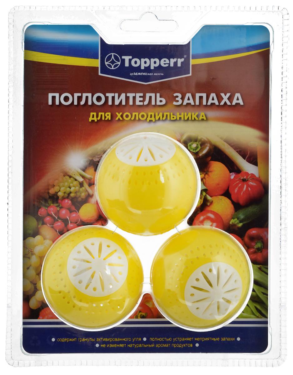 Поглотитель запаха для холодильника Topperr Шар, 3 шт3113Поглотитель запаха для холодильника Topperr Шар полностью удаляет неприятные запахи в холодильнике. Средство содержит гранулы активированного угля, являющегося лучшим из адсорбентов. Активированный уголь способен полностью поглощать неприятные запахи даже таких продуктов, как чеснок, лук, сыр, рыба, не выделяя собственных запахов. Не воздействует на продукты и сохраняет их натуральные ароматы. Способ применения: Вскрыть защитную упаковку и поместить в холодильник. Эффективен в течение 2 месяцев с момента вскрытия защитной упаковки. Диаметр шара: 5 см.