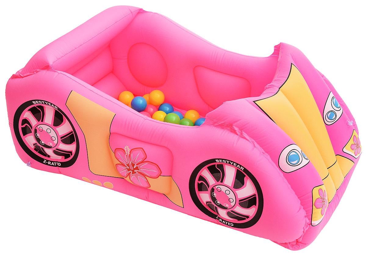 Bestway Развивающий центр Машина с шариками цвет розовый52159_розовыйРазвивающий центр Bestway Машина с шариками - это чудесный игровой комплекс, который отлично подойдет для разнообразных игр и развлечений как дома так и на улице. Центр выполнен из прочного, долговечного материала ПВХ из нескольких слоев, который способен выдерживать большие нагрузки. Игрушка выполнена в форме красочного гоночного автомобиля с мягким дном и удобным сиденьем для водителя и пассажира. Когда автомобиль не используется по назначению, он может стать большим бассейном с разноцветными шариками (входят в комплект). Развивающий центр Bestway Машина с шариками поможет развить определенные навыки у ребенка - координацию движений и выносливость. Модель легко надувается, имеет специальный клапан, благодаря которому игрушка не сможет случайно выпустить воздух.