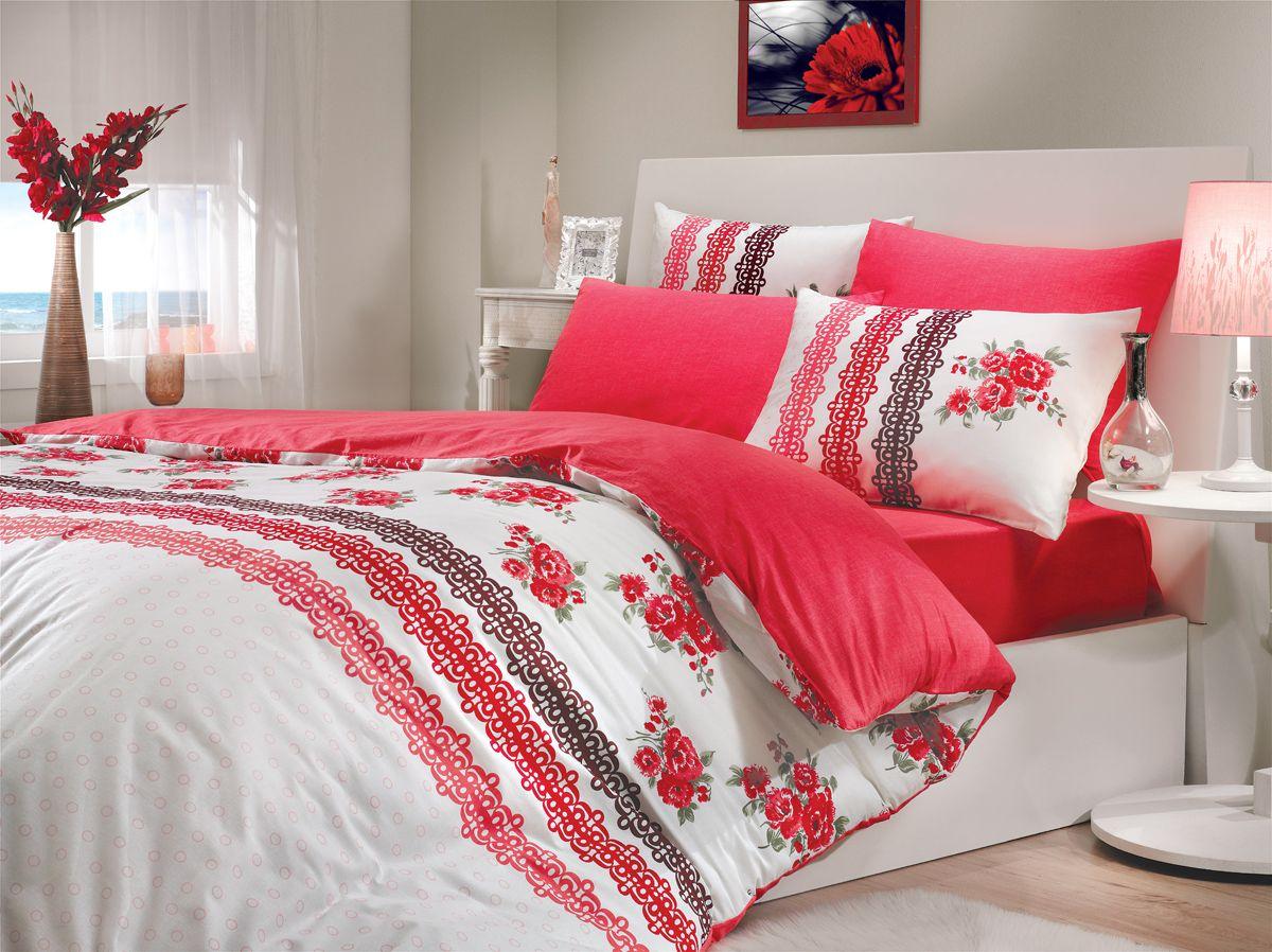 Комплект белья Hobby Home Collection Camila, 1,5-спальный, наволочки 50x70, 70x70, цвет: красный1501000208Комплект белья Hobby Home Collection состоит из простыни, пододеяльника и 2 наволочек. Белье выполнено из ранфорса - это ткань из 100% натурального хлопка, которая легко стирается, практичнее льна, подстраивается под температуру воздуха - зимой на таком белье тепло, летом - прохладно. Мягкость и нежность материала создает чувство комфорта и защищенности. У хлопка хорошая проводимость тепла, поэтому постельное белье из него может надолго оставаться свежим. Постельное белье с оригинальными дизайнами станет отличным выбором для людей, стремящихся всегда быть стильными.