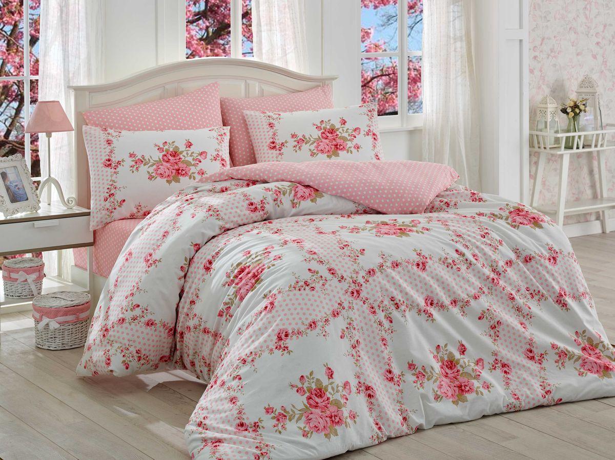 Комплект белья Hobby Home Collection Gloria, 1,5-спальный, наволочки 50x70, 70x70, цвет: розовый1501001102Комплект белья Hobby Home Collection состоит из простыни, пододеяльника и 2 наволочек. Белье выполнено из ранфорса - это ткань из 100% натурального хлопка, которая легко стирается, практичнее льна, подстраивается под температуру воздуха - зимой на таком белье тепло, летом - прохладно. Мягкость и нежность материала создает чувство комфорта и защищенности. У хлопка хорошая проводимость тепла, поэтому постельное белье из него может надолго оставаться свежим. Постельное белье с оригинальными дизайнами станет отличным выбором для людей, стремящихся всегда быть стильными.