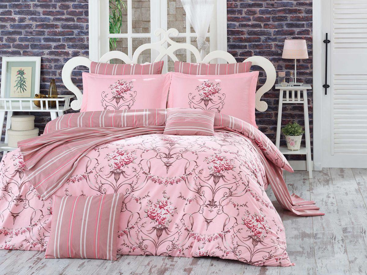 Комплект белья Hobby Home Collection Ornella, евро, наволочки 50x70, 70x70, цвет: розовый1501001123Комплект постельного белья Hobby Home Collection изготовлен из высококачественного поплина. Поплин - это ткань, изготавливаемая традиционным полотняным плетением из 100% хлопка, но из нитей разного калибра, за счет чего полотно получается с легким рубчиковым рельефом. По многим характеристикам ткань похожа на бязь, но на ощупь гораздо приятнее — более гладкая и мягкая. Поплин обладает лучшими свойствами ткани для постельного белья. Он плотный и в то же время мягкий на ощупь, износостойкий, немнущийся, гигроскопичный и неприхотливый в уходе, а после стирки практически не нуждается в глажке. Поплин обладает множеством преимуществ: - белье из него плотное, прочное и износостойкое; - не выцветает и не сминается; - не линяет и не деформируется (при стирке до 40°С); - натуральный хлопок в составе обеспечивает абсолютную гигиеничность постельного белья; - поплин хорошо вентилируется и впитывает влагу, отводя ее излишки от тела. По легенде этот...