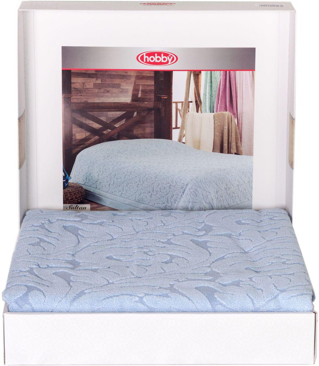 Покрывало Hobby Home Collection Sultan, 160х200см, цвет: голубой1501001002Шикарное махровое одеяло - покрывало для лета из 100% хлопка высшей категории. Незаменимый вариант для комфортного сна летом, а так же для теплых спален в зимний период. Легкое и мягкое с красивым жаккардовым рисунком и декоративным бордюром. Оно обладает замечательными дышащими свойствами, нежное и приятное к телу, обеспечивает спокойный и здоровый сон. Данное изделие можно так же использовать в качестве покрывала или простыни. Большая подарочная коробка!