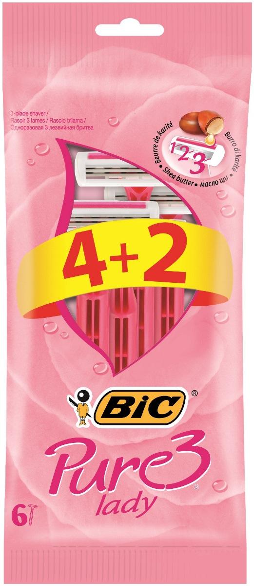 BIC Бритва Pure3 Lady, уп.4+2923047Бритвенный станок с тремя лезвиями для женского бритья. Фиксированная головка. Хромо-полимерное покрытие. Увлажняющая полоска с Алоэ-Вера. Изогнутая и ребристая ручка.