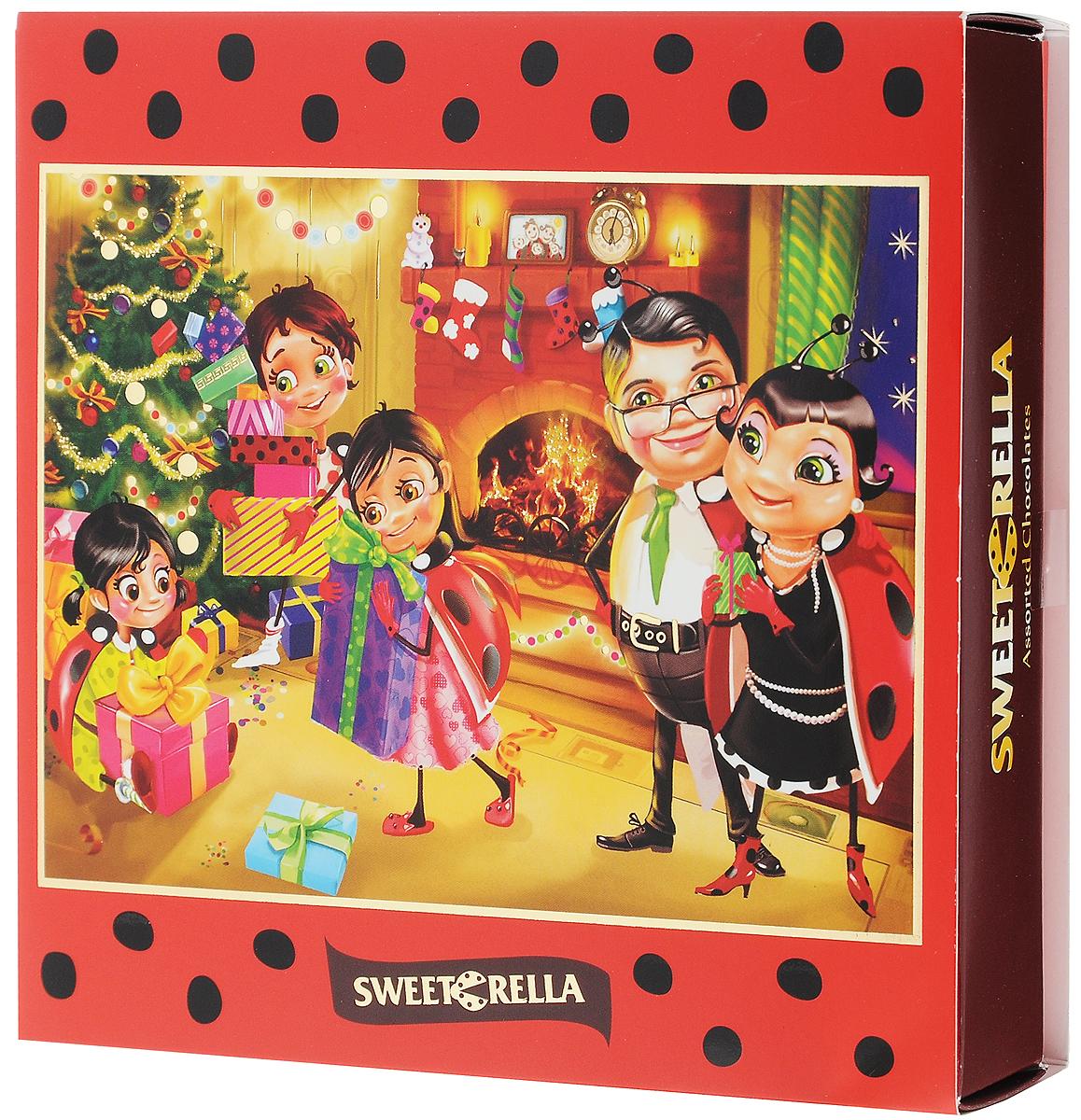 Sweeterella конфеты шоколадные ассорти, 9 шт, 130 гиба010Великолепный набор шоколадных конфет ручной работы Sweeterella в яркой новогодней упаковке порадуют любого, даже самого искушенного сладкоежку… Шоколадные конфеты с оригинальными начинками: - дуэт клубники и киви с хрустящими кусочками какао-бобов; - оригинальное сочетание кофе и кокоса; - конфеты с шоколадным кремом и цельным лесным орехом. Уважаемые клиенты! Обращаем ваше внимание, что полный перечень состава продукта представлен на дополнительном изображении.