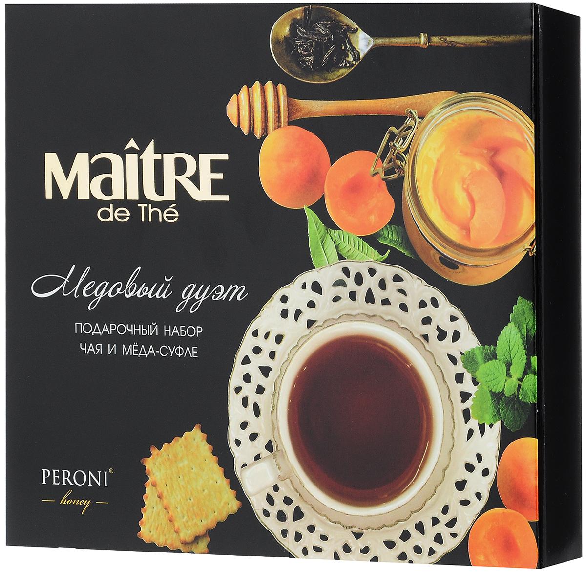 Maitre Медовый дуэт подарочный набор: чай черный Кения, 25 г + мед-суфле, 40 гбаж053Подарочный набор Maitre Медовый дуэт включает две упаковки: черный байховый среднелистовой кенийский чай сорта Букет и мед-суфле с абрикосом (20 г х 2). Уважаемые клиенты! Обращаем ваше внимание, что полный перечень состава продукта представлен на дополнительном изображении.