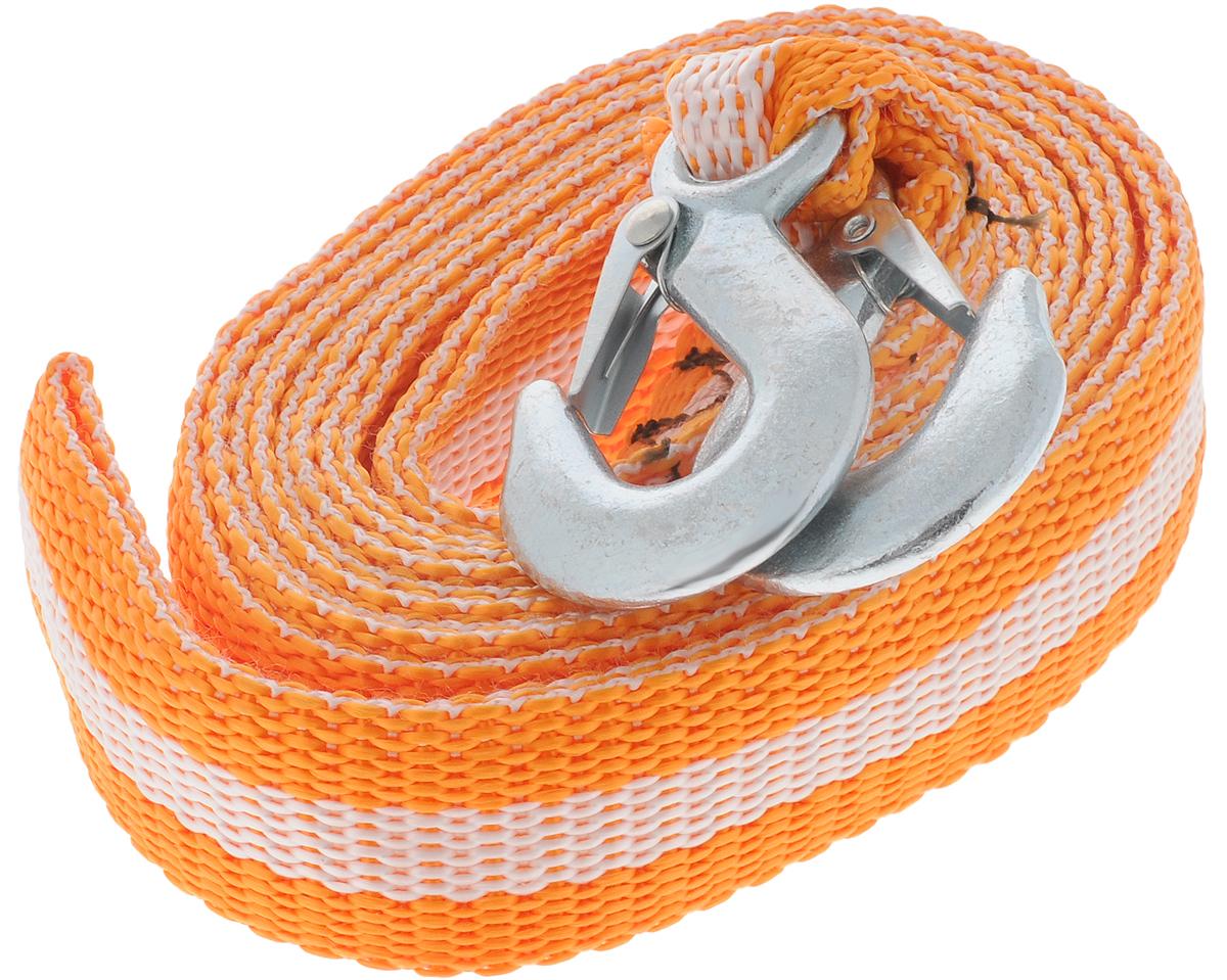 Трос буксировочный Azard, ленточный, с 2 крюками, цвет: оранжевый, белый, 8 т, 4,5 мТР000015_оранжевый,белая полосаБуксировочный трос Azard представляет собой ленту из сверхпрочной полиамидной (капроновой) нити и два стальных крюка. Специальное плетение ленты обеспечивает эластичность троса и плавный старт автомобиля при буксировке. На протяжении всего срока службы не меняет свои линейные размеры. Трос морозостойкий, влагостойкий и устойчив к агрессивным средами воздействию нефтепродуктов. Длина троса соответствует ПДД РФ. Буксировочный трос обязательно должен быть в каждом автомобиле. Он необходим на случай аварийной ситуации или если ваш автомобиль застрял на бездорожье. Максимальная нагрузка: 8 т. Длина троса: 4,5 м.